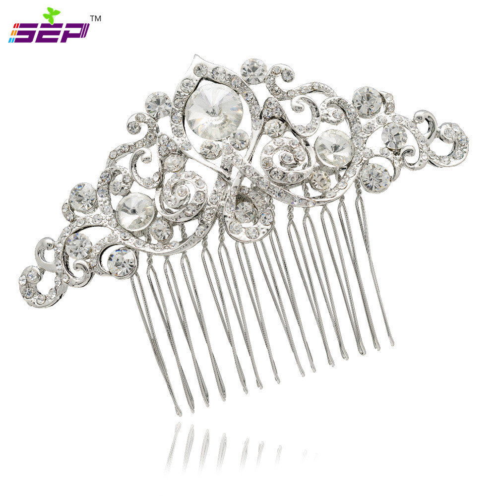Silver Plated Flower Rhinestone Crystals Hair Comb Bridal Hairpins Women Wedding Hair Jewelry Accessories 2301(China (Mainland))