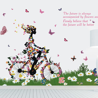 The third generation wall stickers bicycle fairy romantic tv sofa background wall