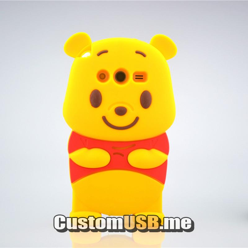 For Samsung Galaxy Core 2 G355 G355h G3559 3D Winnie Style Case Animal Soft Silicone Cell Phone Protector Cover Shell Skin(China (Mainland))