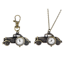 Hot-sale Retro  Vintage Bubble Car Bats Quartz Watches Pocket Watch Key Ring Necklace Gift  HB88