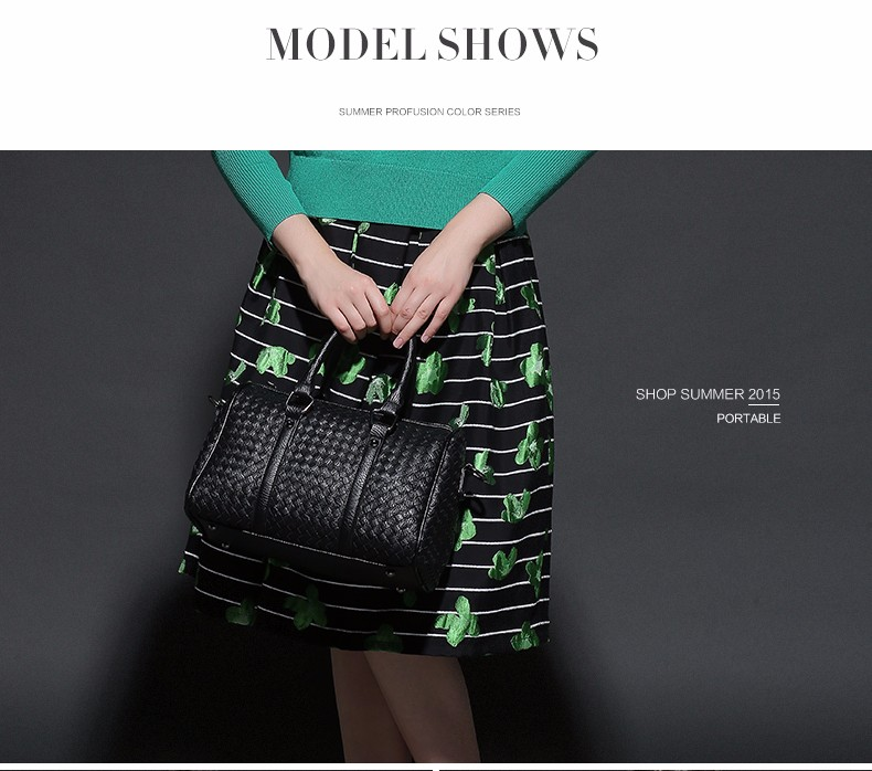 Occident Style Boston Bag Fashion Knitting Handbag Women Designer Woven Pattern Hand Bag Ladies Luxury Elegant PU Shoulder Bag