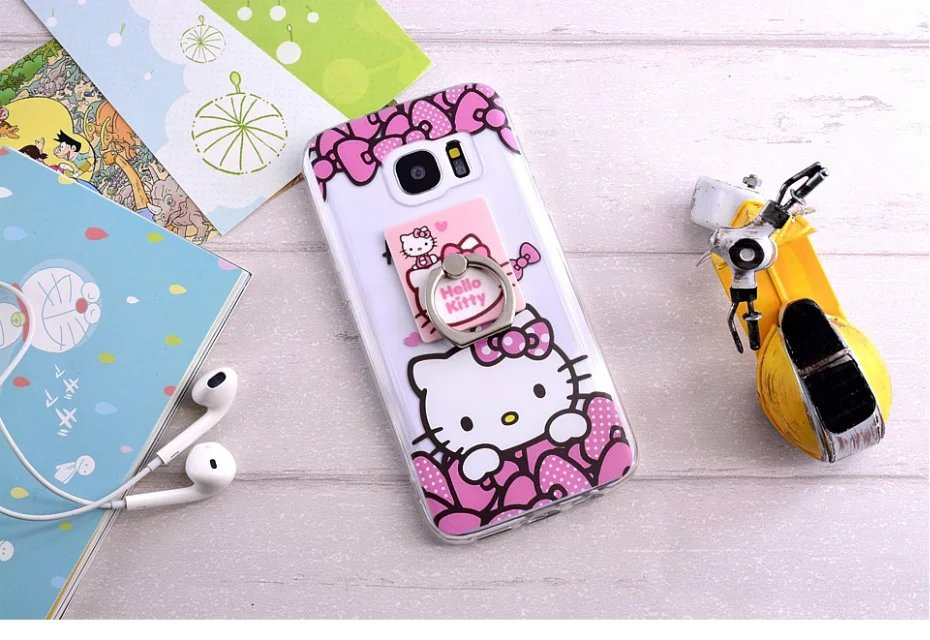 100pcs/lot DHL Free shipping 6colors Ring support Hello Kitty hard plastic cover case for samsung galaxy S7 edge TPU case(China (Mainland))