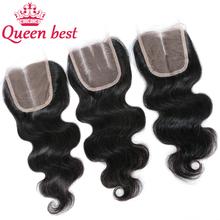 Brazilian Body Wave Lace Top Closure 4*4 Bleached Knots Human Hair Lace Wigs 100% Unprocessed Brazilian Closure Free Shipping