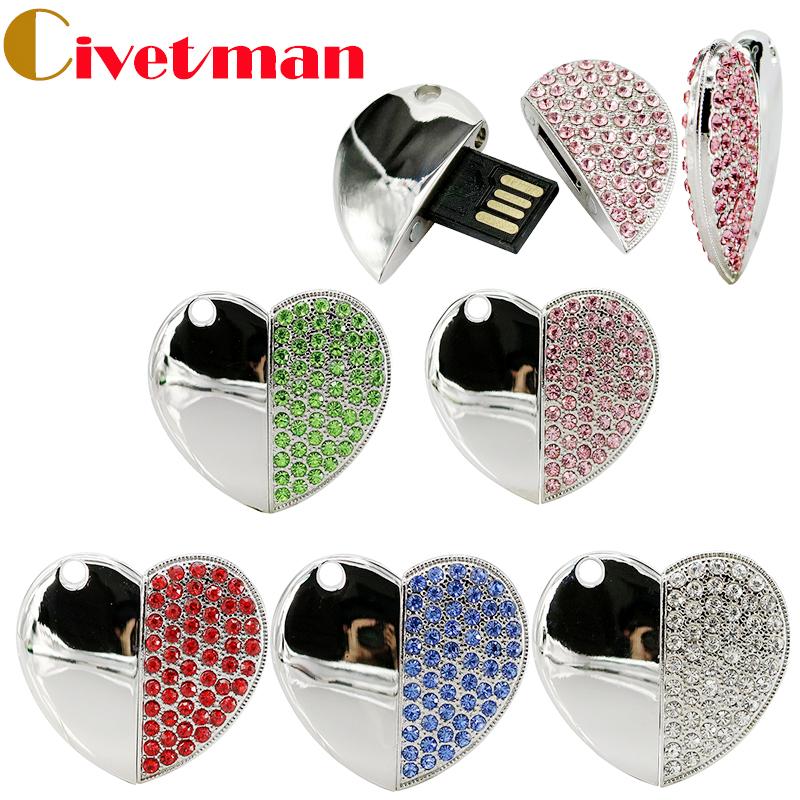 Fashion Crystal Heart Necklace 8GB 16GB 32GB 64GB USB Flash Drive Jewelry Pen Drive USB 2