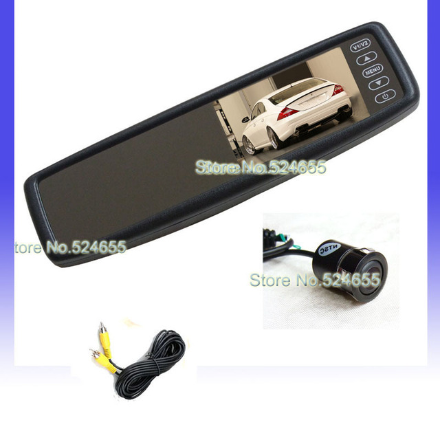 4.3inch parking systems car rear mirror monitor  AV1 for DVD/VCD,  AV2 for back-view camera.+ 18mm Embeded camera Free shipping