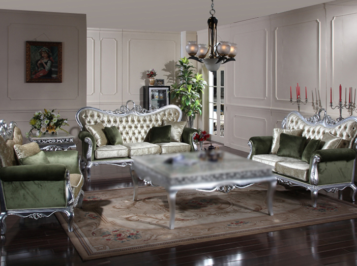 modern luxury wood trace silver furniture living room sofa in living