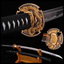 Полный ручной японский катана меч самурайский меч дамасская сталь сложить стальное лезвие практическая резкое сувениры