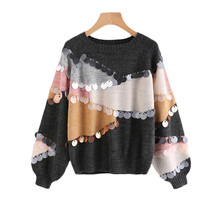 Sheinside Sequin Decoration Contrast Top Sweater 2017 Round Neck Patchwork Long Sleeve Loose Pullovers Women Casual Sweater(China)