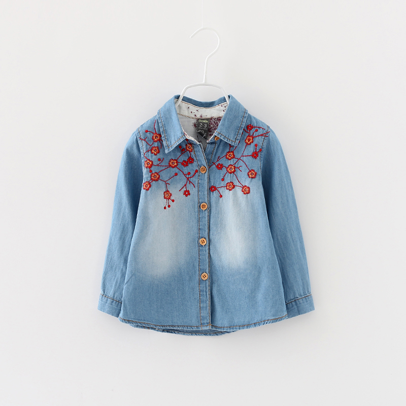 Children Jeans Clothing Brand Girls Denim Embroidery Shirts Autumn New 2015 Kids Boutique Clothes Cotton Casual 6pcs/LOT<br><br>Aliexpress
