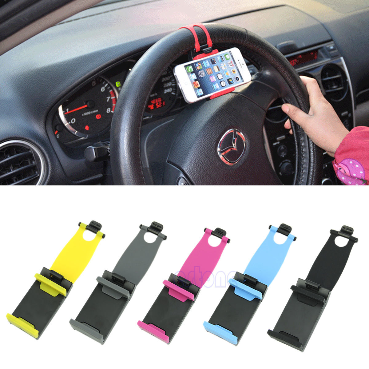 universal car steering wheel bike clip mount holder for iphone phone samsung cellphone gps. Black Bedroom Furniture Sets. Home Design Ideas