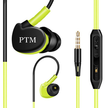 Original PTM S800 Sport Earphone Super Bass Headphones Sweat Proof Running Headset With Mic Ear Hook For All Mobile Phone