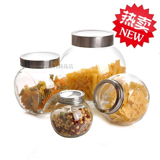 Lead-free glass bottle storage tank transparent cover dried fruit storage tea canister glass bottle