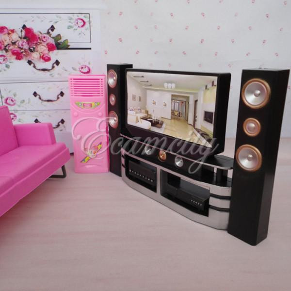 Hi-Fi 1:6 TV Home Theater Cabinet Set Combo for Blythe for Barbie Dolls House Dollhouse Furniture(China (Mainland))
