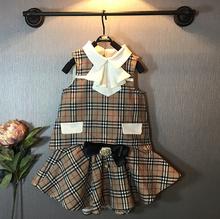 retail brand new summer 2-7Y girls clothes 2pcs children clothing set plaid sleeveless top shirt+bow tutu skirt  vetement fille