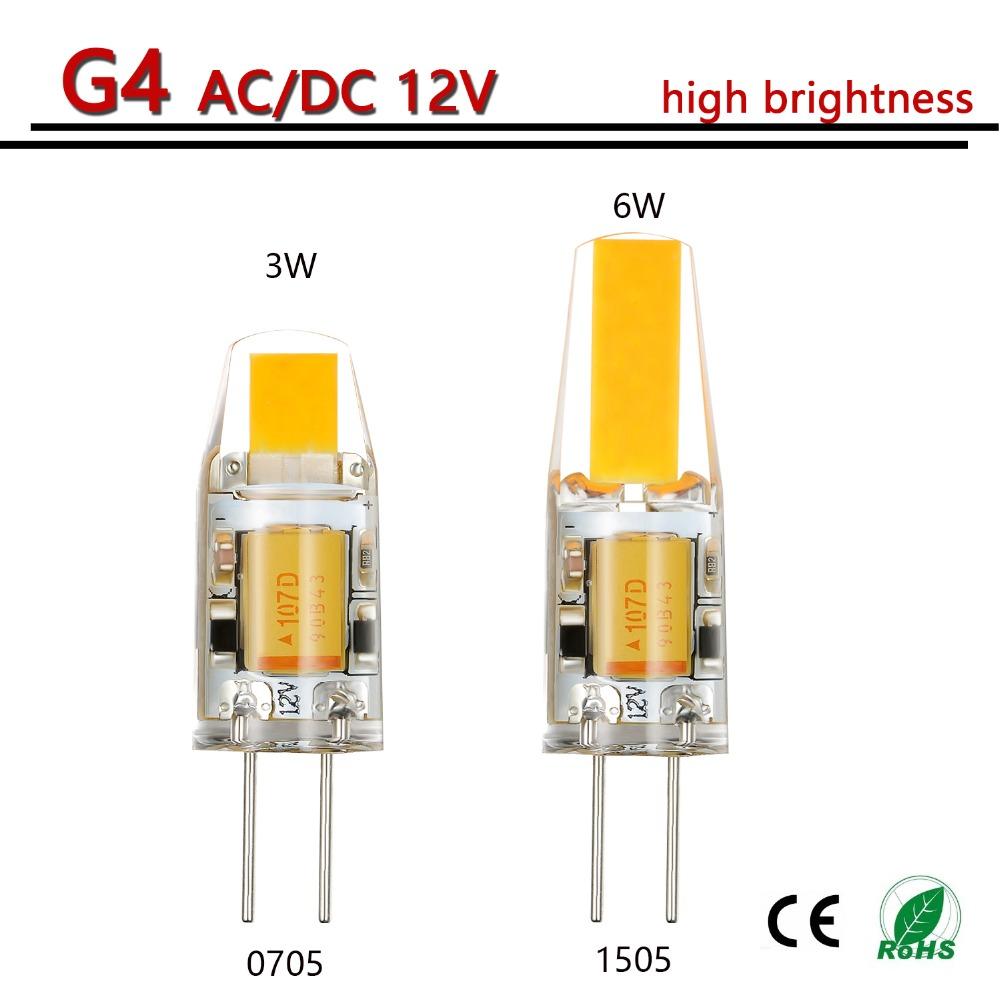 6pcs/lot G4 LED 12V AC/DC COB Light 3W 6W High Quality LED G4 COB Lamp Bulb Chandelier Lamps Replace Halogen LED Light(China (Mainland))