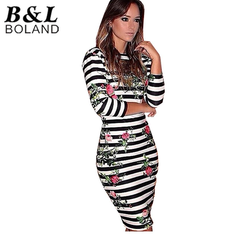 2015 Sexy Club Dress Women Clothes Three Quarter-sleeve Striped Flower Backless Pencil dress Women Bandage Dresses Bodycon #WB14(China (Mainland))