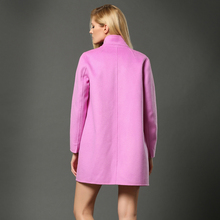 New 2015 double faced cashmere overcoat women high quality medium-long solid color stand collar wool coat designer overcoat
