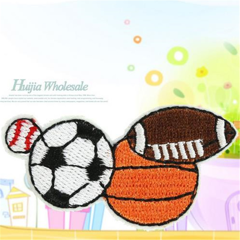 Embroidered Patch Rugby football basketball Iron on Patches For Clothing ( t shirt , clothes , bag , shoes ,hat ) Free Shipping(China (Mainland))