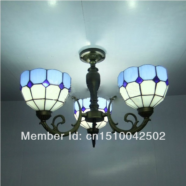 Tiffany Glass Pendant Lamps Blue and White 3 Lights Living Room Lamps Corridor Light Bedroom Lamp DIA 56 CM H 42 CM(China (Mainland))