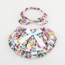 Floral Baby Bloomer & Headband Set Newborn Ruffle Diaper cover with Top Knot Head Wrap Summer Photo Costume KS005(China (Mainland))