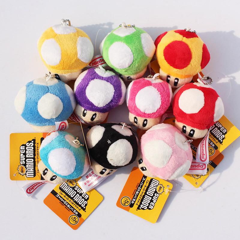 10pcs/lot Super Mario Plush Keychain Toad Mushroom Stuffed Dolls Plush Keychains Pendants Free Shipping(China (Mainland))