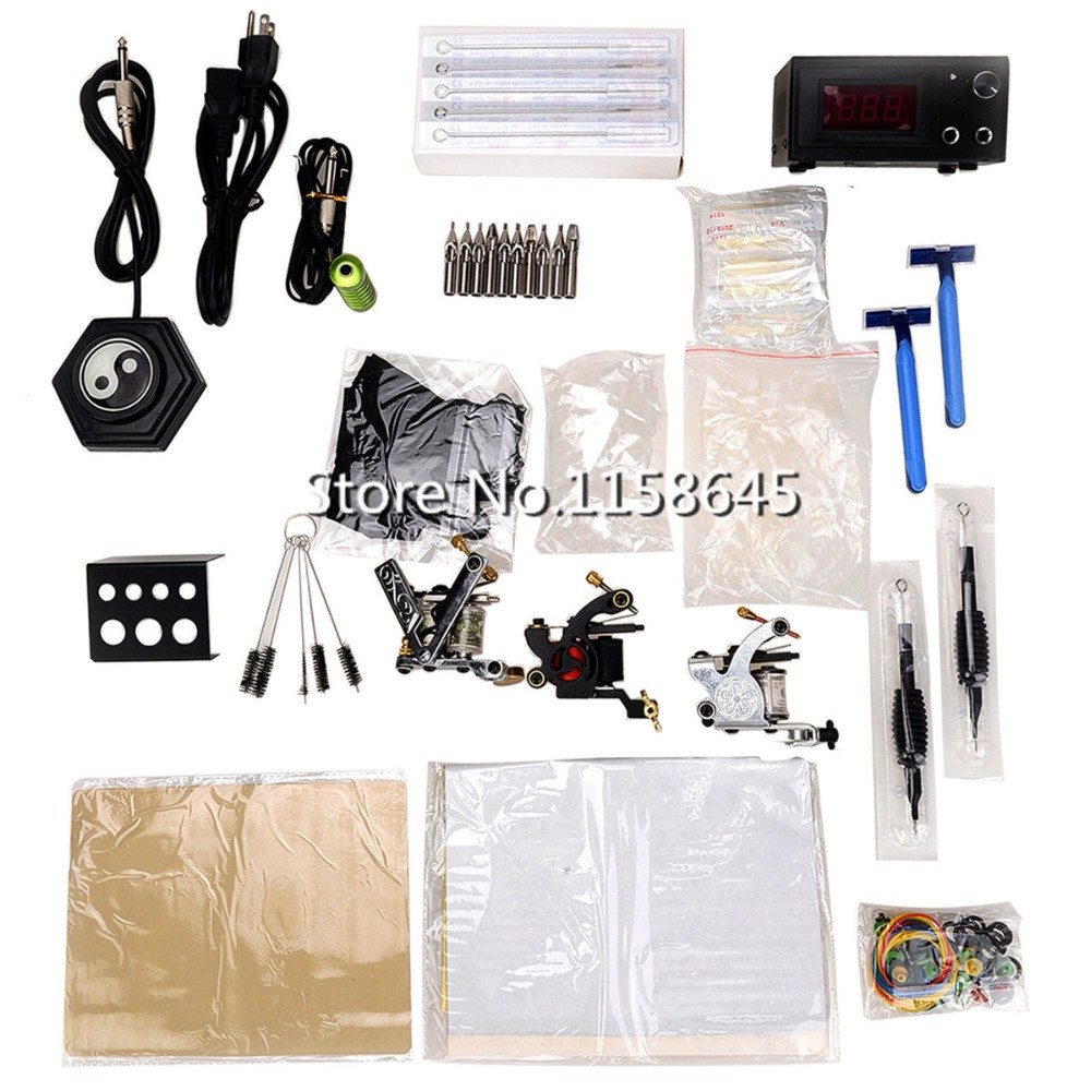1 Sets Professinal Professional Tattoo Kits 3 Tattoo Gun Machine + LCD Power Supply +Pedal + Needles Tip Gift Body Art HOT #p(China (Mainland))