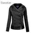 Clocolor Cardigan European Cotton Pocket Zipper Fleece Hoodie Long Sleeve Fall Winter Casual Jacket