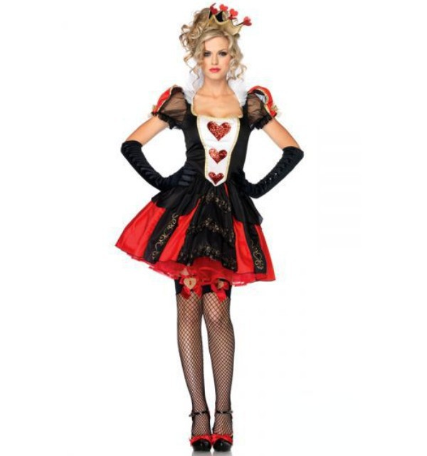 Deluxe Ladies Queen Of Red Hearts Halloween Alice In Wonderland Party Fancy Dress Up Costume(China (Mainland))