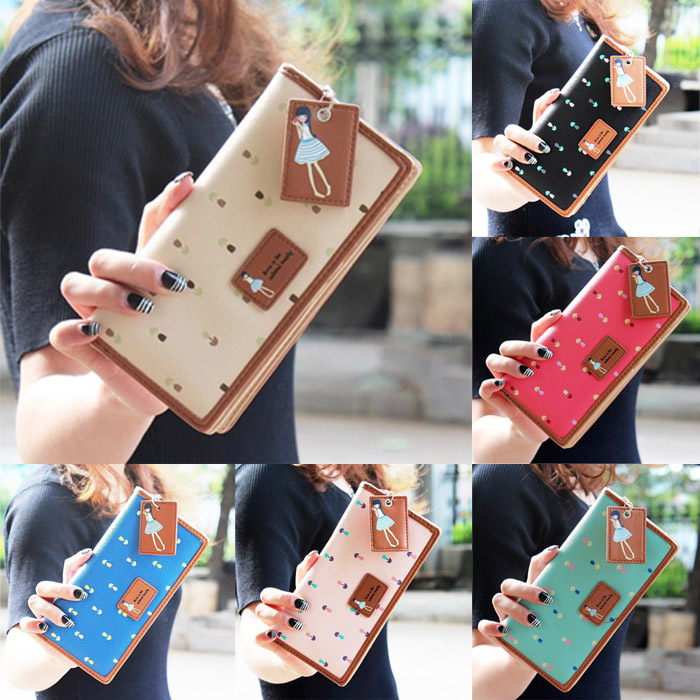 Гаджет  2015 New Leather Famous Design Lovely Printing Women Wallet,Long Draw-out Type Female Wallet Clutch Purses carteira feminina None Камера и Сумки