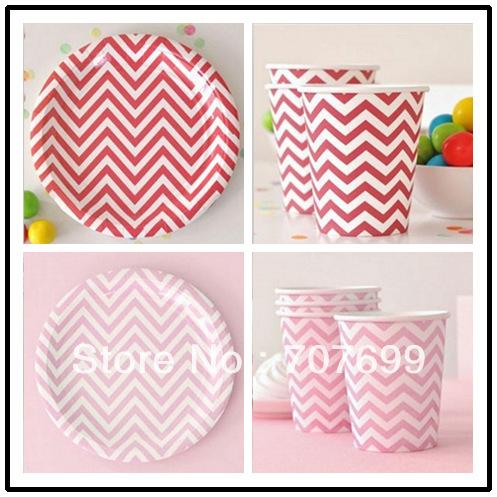 "Free Shipping EMS/DHL/FEDEX 720Pcs 9oz Chevron Paper Drinking Cups 720pcs 9"" Chevron Paper plates Set Mint,Red,Pink,Blue(China (Mainland))"