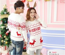 Quality reindeer christmas sweater for men and women couples matching christmas sweaters for lovers couple Christmas sweaters(China (Mainland))