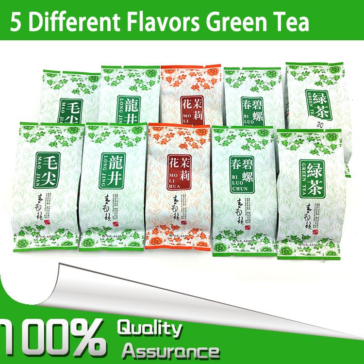 5 Different Flavors Organic Green Tea including dragon well Long Jing BiLuoChun Mao jian Mao feng