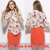 Summer Style Brand Shirt Chiffon Print Tops Female Clothes Blusa Feminina XXXXL 6XL Plus Size Cheap Shirt Women Cardigan Blouses