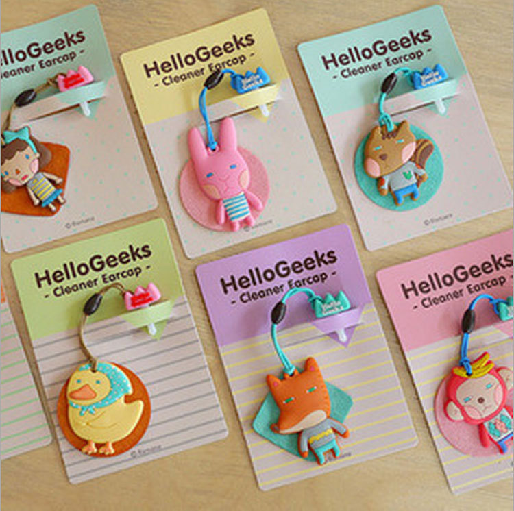 Earphone Jack Plug Cartoon Animals Shape Dust Plug Phone with Pendant Screen Cleaner Earcap for Iphone Accessories 3.5mm(China (Mainland))