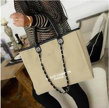 Известный мода фирменного наименования женщин сумки новые 2015 путешествия холст сумка цепи большой емкости кожаные сумки