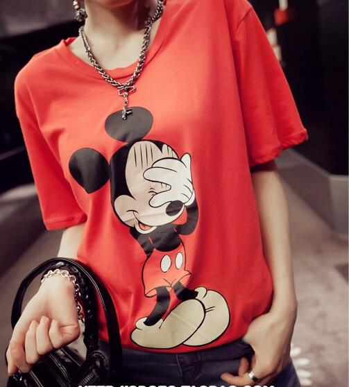 M7802 Xl- 5xl Mickey Cartoon Letter Cotton Loose T-shirts Casual 2016 Summer Women Plus Size Tees T Shirt Tops Korean White Red(China (Mainland))