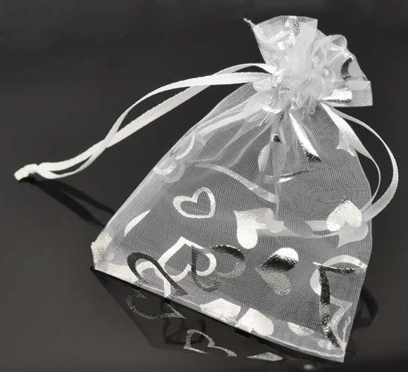 Wholesale 100Pcs 9x12cm White Heart Organza Wedding Gift Bags Pouches Bags&Pouches&Poucheses(China (Mainland))