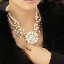 1 pc Charm Jewelry Crystal Simulated Pearl Flower Bib Choker Statement Necklace women gift Hot(China (Mainland))