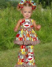 DHL Free Shipping  FEDEX FP-00005 fashion toddler girls boutique remake monkey outfit 2 pcs set (China (Mainland))