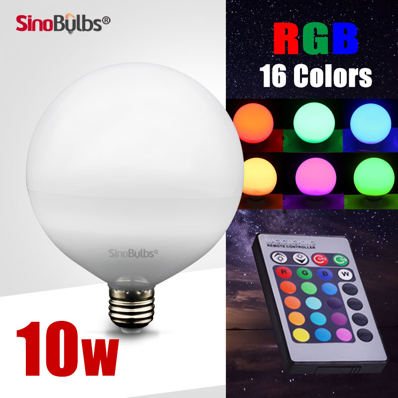 LED RGB bulb, 360 Degree LED Globe lamp , 10W , 90-260V , E27 ,dimmable , remote control,beautiful appearance for decoration(China (Mainland))