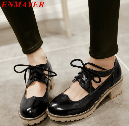 ENMAYER  2015 new women flats  womens college wind round thick with lace High quality casual shoes  ballet flats for women<br><br>Aliexpress