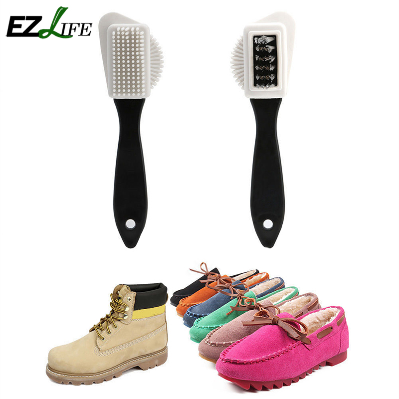 EZLIFE Black S Shape Boot Shoes Cleaner 3 Side Shoe Cleaning Brush Suede Nubuck High Quality KT0620(China (Mainland))
