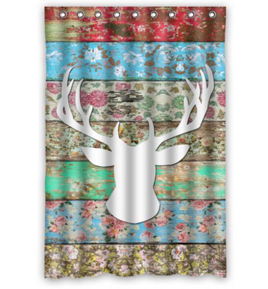 "Custom Home Decor Deer Head Moden Shower Curtain Bathroom Waterproof 66""x72"" Free Shipping(China (Mainland))"