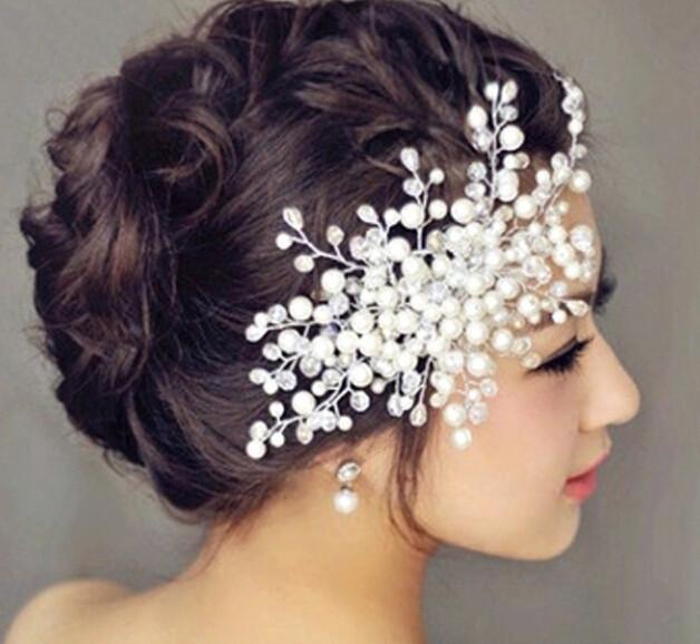 Hotter cheap wholesale 1pcs/lot bridal jewelry accessory hair pearl beads tiara fashion crown free shipping in bulk!!(China (Mainland))