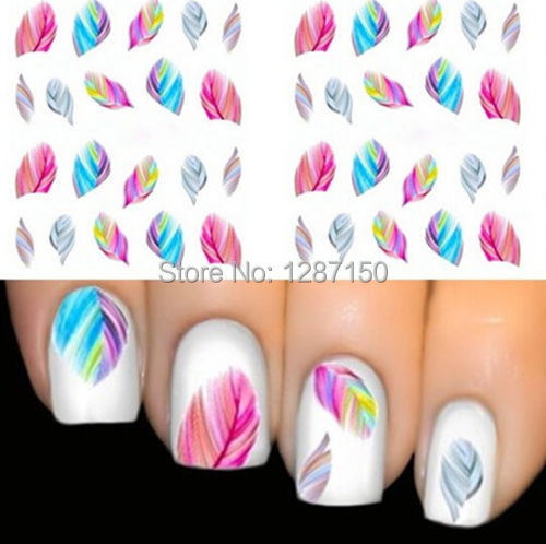 1pcs FEATHER Nail Art Water Transfer Decal Sticker Rain bow Dreams bright color sheet(China (Mainland))