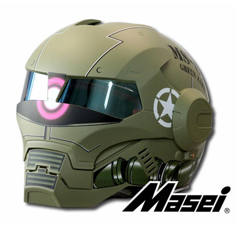 MASEI Matte Dumb Green Zach NEW style 610 motorcycle helmet IRONMAN Iron Man helmet open face helmet casque motocross(China (Mainland))