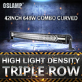 Oslamp 42inch Curved Led Light Bar 648W CREE Chips Offroad Driving Work Light for Toyota Honda