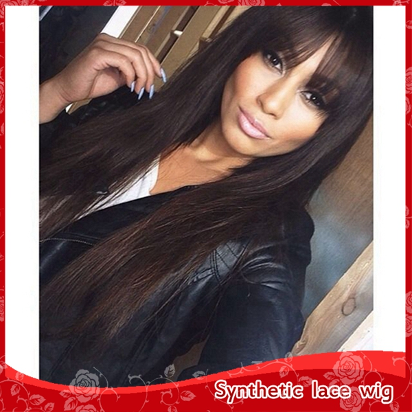 Free Shipping Black #1B Long Straight Synthetic None Lace wig Heat Resistant Synthetic Wigs for Black Women Natural Hairline<br><br>Aliexpress
