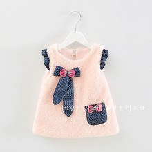 new year dress baby pink purple beige birthday dress girl winter thick warm bow girl's cute clothes factory direct  clothing(China (Mainland))