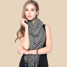 Winter Long Shawl and Scarf Women Houndstooth Duotone Lover s Skin Friendly Wool Tassel Wrap Scarf